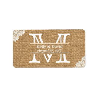 Vintage Monogram Burlap & Lace Rustic Wedding Label