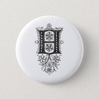 Vintage Monogram H Floral Initial Letter 6 Cm Round Badge