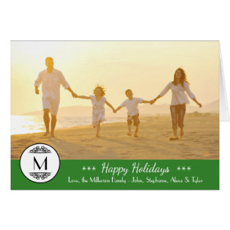 Vintage Monogram - Happy Holidays Folded Card
