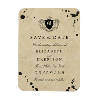 Vintage Monogram & Ink Stain Wedding Save The Date Magnet