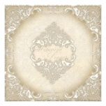Vintage Monogram Lace Baroque Etching Swirl Formal Personalised Invite