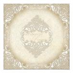 Vintage Monogram Lace Baroque Etching Swirl Formal Personalised Invite