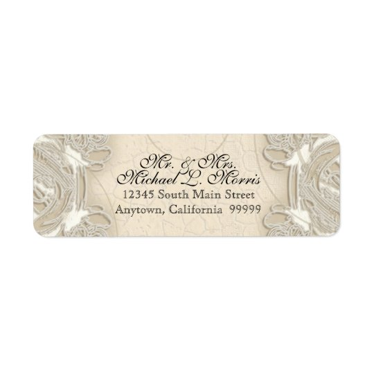 Vintage Monogram Lace Baroque Etching Swirl Formal Return Address Label