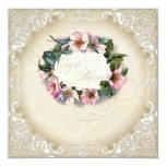Vintage Monogram Lace Wild Pink Rose Swirl Formal