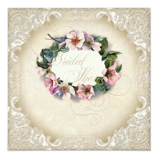 Vintage Monogram Lace Wild Pink Rose Swirl Formal Card