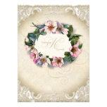 Vintage Monogram Lace Wild Pink Rose Swirl Formal Custom Invitations