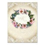 Vintage Monogram Lace Wild Pink Rose Swirl Formal 14 Cm X 19 Cm Invitation Card