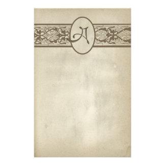 Vintage Monogram Letter A Stationery Paper