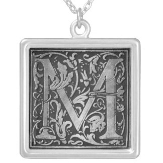 Vintage Monogram M Silver Plated Necklace