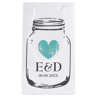 Vintage monogram mason jar wedding favor gift bags