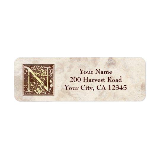 Vintage Monogram N Return Address Label