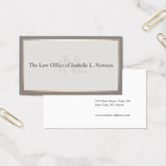 Vintage Monogram Professional Attorney Gold Border Business Card