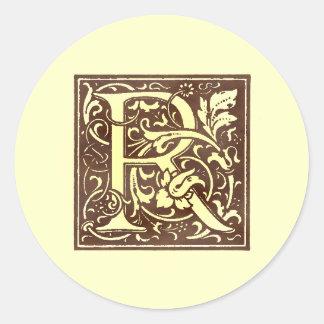 Vintage Monogram R Classic Round Sticker