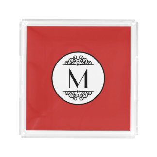 Vintage Monogram Red - Square Tray