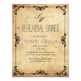 Vintage Monogram Rehearsal Dinner Invitation Card