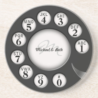 Vintage Monogram  Rotary Phone Dial Coaster
