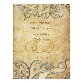 Vintage, monogram silver swirls/lilac postcard