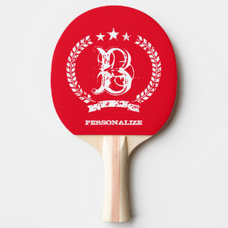 Vintage monogram table tennis ping pong paddle