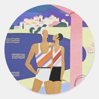 Vintage Monte Carlo Beach Classic Round Sticker