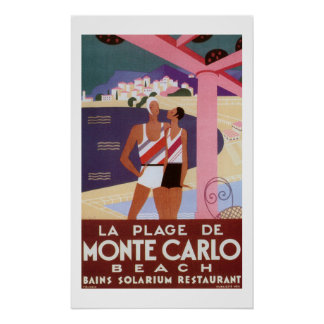 Vintage Monte Carlo Beach Poster