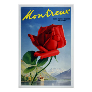 Vintage Montreux Switzerland Travel Poster