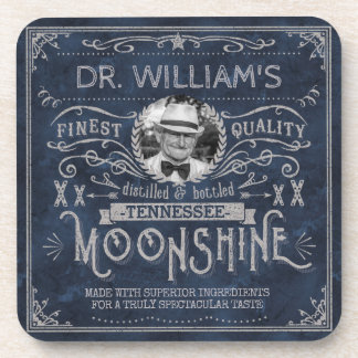 Vintage Moonshine Hillbilly Medicine Custom Blue Drink Coaster
