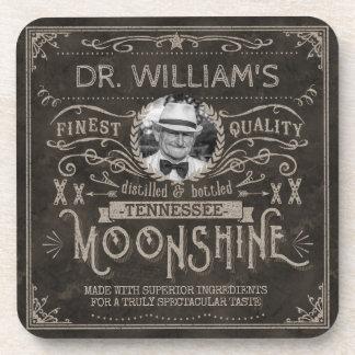 Vintage Moonshine Hillbilly Medicine Custom Brown Drink Coaster