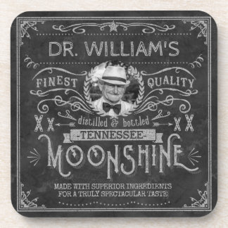 Vintage Moonshine Hillbilly Medicine Custom Gray Drink Coaster
