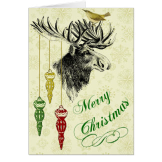 Vintage Moose and Ornaments Christmas Stamp Greeting Cards
