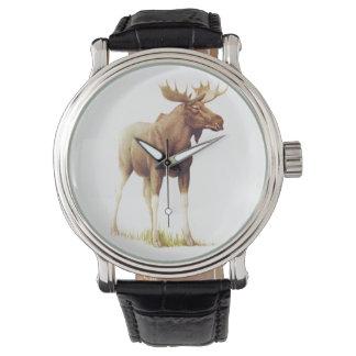 Vintage Moose Illustration, Animal Drawing Watch