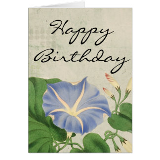 Vintage Morning Glory Botanical Birthday Card