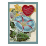 Vintage Morning Glory Valentines Day Greeting Card