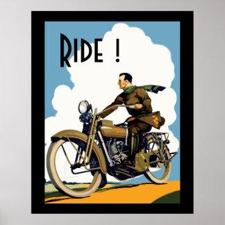 Vintage Mortorcycle - Ride! Poster