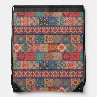 Vintage mosaic talavera ornament drawstring bag