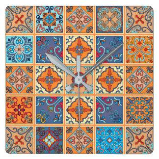 Vintage mosaic talavera ornament square wall clock