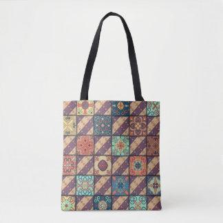 Vintage mosaic talavera ornament tote bag