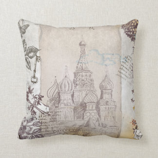 Vintage Moscow Postage Design Cushion
