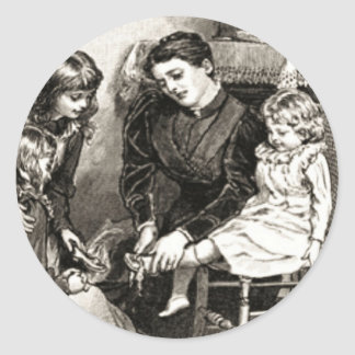 Vintage Mother and Children Round Sticker