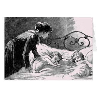 Vintage Mother and Children Sleeping Card Greeting Card