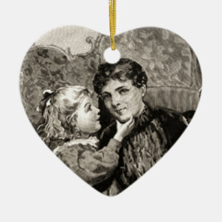 Vintage Mother and Little Girl Ornament