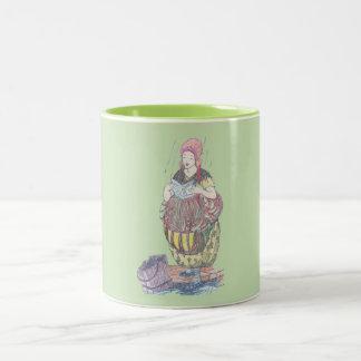 ~ Vintage Mother Elder Illustration ~ Two-Tone Coffee Mug