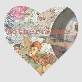 Vintage Mother Goose Fairy tale Collage Heart Sticker