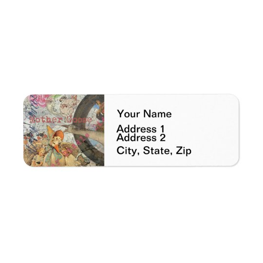 Vintage Mother Goose Fairy tale Collage Return Address Label