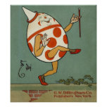 Vintage Mother Goose Nursery Rhyme, Humpty Dumpty Poster