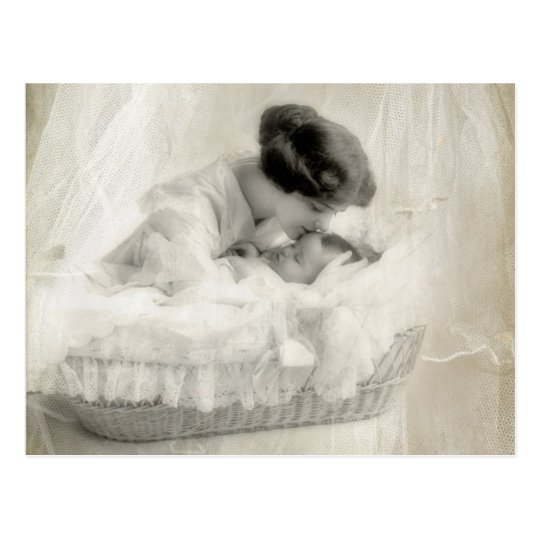 Vintage Mother Kissing Baby in Bassinet Postcard