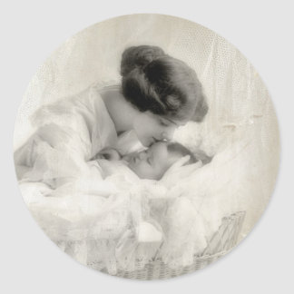 Vintage Mother Kissing Baby in Bassinet Round Sticker