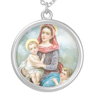 vintage mother mary and baby jesus. silver plated necklace