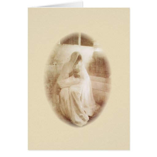 Vintage Mother Mary & Child in a Manger Cards