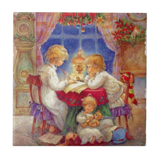 Vintage Mother with children At The Table Ceramic Tile
