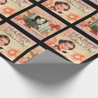 Vintage Mother's Day Add Mom's Photo Wrapping Paper